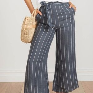 Faithfull the Brand Gray Striped Linen Culottes